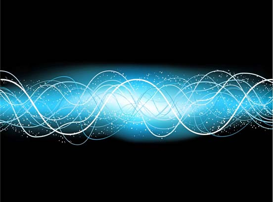 Electrical Sine Wave in Blue Background