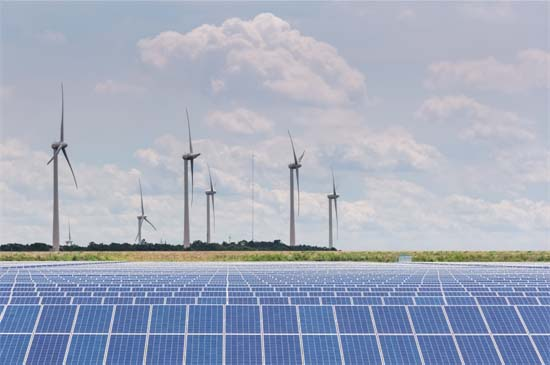 Wind & Solar Farm Producing Green Electricity