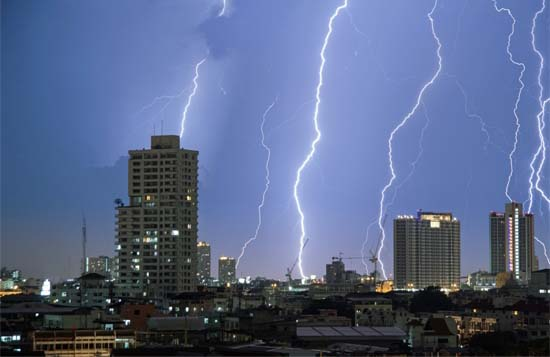 City Lightening Storm