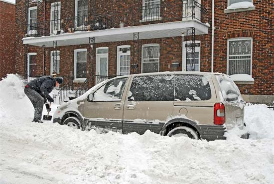 Shoveling a Minivan Out of the Snow