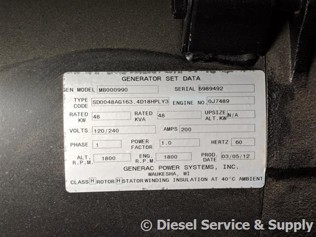 kw generac diesel dt gen  generator  sale unit
