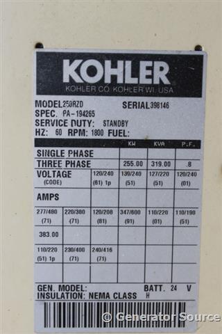 250 Kw Kohler Natural Gas Series 60 Used Generator For